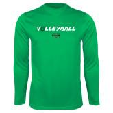 Syntrel Performance Kelly Green Longsleeve Shirt-Volleyball Ball Design