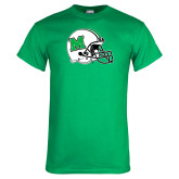 Kelly Green T Shirt-Marshall Football Helmet