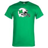 Kelly Green T Shirt-Marshall Football Helmet