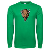 Kelly Green Long Sleeve T Shirt-Mascot Head