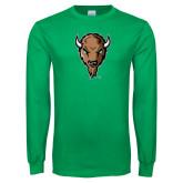 Kelly Green Long Sleeve T Shirt-Mascot Head