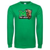 Kelly Green Long Sleeve T Shirt-M The Herd w Head