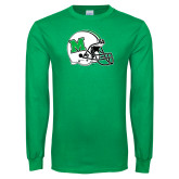 Kelly Green Long Sleeve T Shirt-Marshall Football Helmet