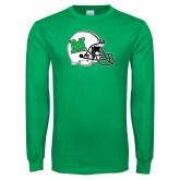 Kelly Green Long Sleeve T Shirt-Marshall Football Helmet