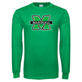 Kelly Green Long Sleeve T Shirt-M Marshall Distressed