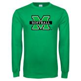 Kelly Green Long Sleeve T Shirt-Softball
