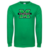Kelly Green Long Sleeve T Shirt-Volleyball