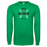 Kelly Green Long Sleeve T Shirt-Baseball Ball Design
