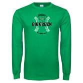 Kelly Green Long Sleeve T Shirt-Baseball Ball Design
