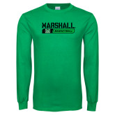 Kelly Green Long Sleeve T Shirt-Basketball Bar Design
