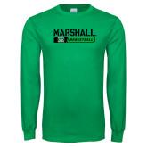 Kelly Green Long Sleeve T Shirt-Basketball Bar Design