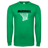 Kelly Green Long Sleeve T Shirt-Basketball Net Design