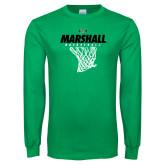 Kelly Green Long Sleeve T Shirt-Basketball Net Design