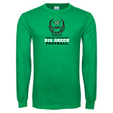 Kelly Green Long Sleeve T Shirt-Football Helmet Design