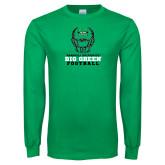 Kelly Green Long Sleeve T Shirt-Football Helmet Design