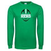 Kelly Green Long Sleeve T Shirt-Football Vertical Design
