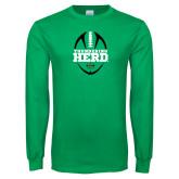 Kelly Green Long Sleeve T Shirt-Football Vertical Design