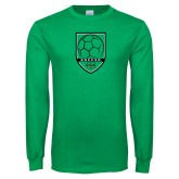 Kelly Green Long Sleeve T Shirt-Soccer Shield Design