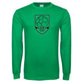 Kelly Green Long Sleeve T Shirt-Soccer Shield Design