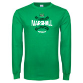 Kelly Green Long Sleeve T Shirt-Softball Ball Design