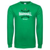 Kelly Green Long Sleeve T Shirt-Softball Ball Design