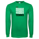 Kelly Green Long Sleeve T Shirt-Tennis Stacked Design