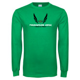 Kelly Green Long Sleeve T Shirt-Track and Field Wings Design