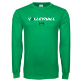 Kelly Green Long Sleeve T Shirt-Volleyball Ball Design