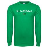 Kelly Green Long Sleeve T Shirt-Volleyball Ball Design