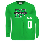 Kelly Green Long Sleeve T Shirt-M Marshall, Custom Tee w/ Name and #