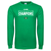 Kelly Green Long Sleeve T Shirt-2018 Mens Basketball Champions - Box