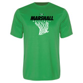 Performance Kelly Green Tee-Basketball Net Design