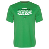 Performance Kelly Green Tee-2018 Mens Basketball Champions - Brush