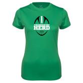 Ladies Syntrel Performance Kelly Green Tee-Football Vertical Design