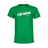 Youth Kelly Green T Shirt-The Herd Fancy Lines