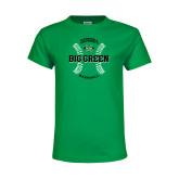 Youth Kelly Green T Shirt-Baseball Ball Design