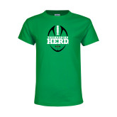 Youth Kelly Green T Shirt-Football Vertical Design