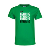 Youth Kelly Green T Shirt-Tennis Stacked Design