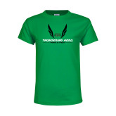 Youth Kelly Green T Shirt-Track and Field Wings Design