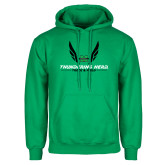 Kelly Green Fleece Hoodie-Track and Field Wings Design