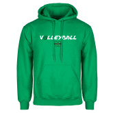 Kelly Green Fleece Hood-Volleyball Ball Design