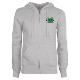 ENZA Ladies Grey Fleece Full Zip Hoodie-M Marshall