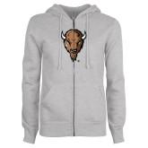 ENZA Ladies Grey Fleece Full Zip Hoodie-Mascot Head