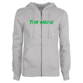 ENZA Ladies Grey Fleece Full Zip Hoodie-The Herd