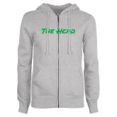 ENZA Ladies Grey Fleece Full Zip Hoodie-The Herd