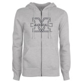 ENZA Ladies Grey Fleece Full Zip Hoodie-M-Marshall Glitter