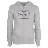 ENZA Ladies Grey Fleece Full Zip Hoodie-M-Marshall Glitter