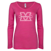 ENZA Ladies Hot Pink Long Sleeve V Neck Tee-M Marshall