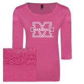Ladies Dark Fuchsia Heather Tri Blend Lace 3/4 Sleeve Tee-M Marshall