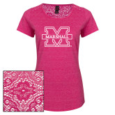 Ladies Dark Fuchsia Heather Tri-Blend Lace Tee-M Marshall